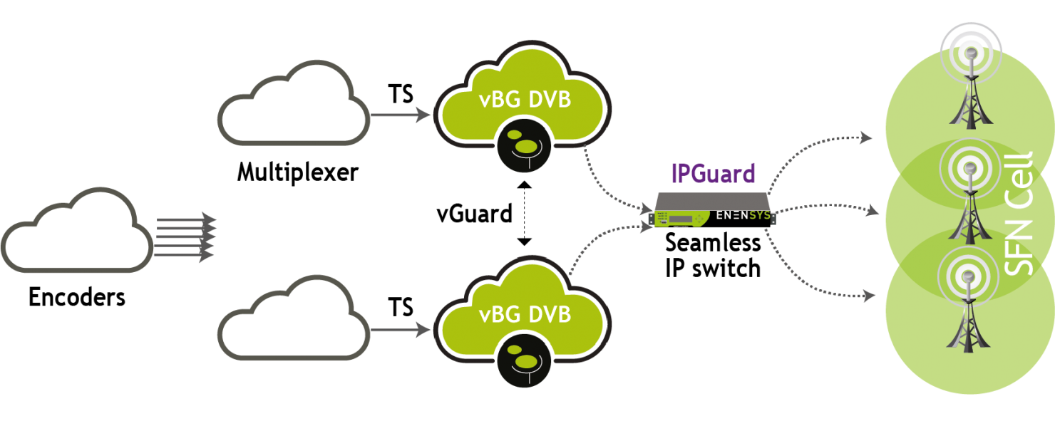 The vBG is installed after the multiplexer, it can be used 1+1 redundancy thanks to the vGuard feature